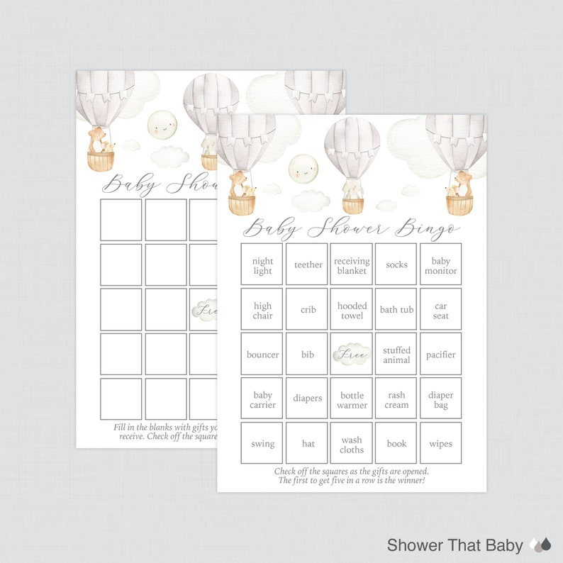 Up and Away 0079-G Purse Game Nursery Rhyme Seven Printable Games: Bingo Gray Hot Air Balloon Baby Shower Games Package Price is Right