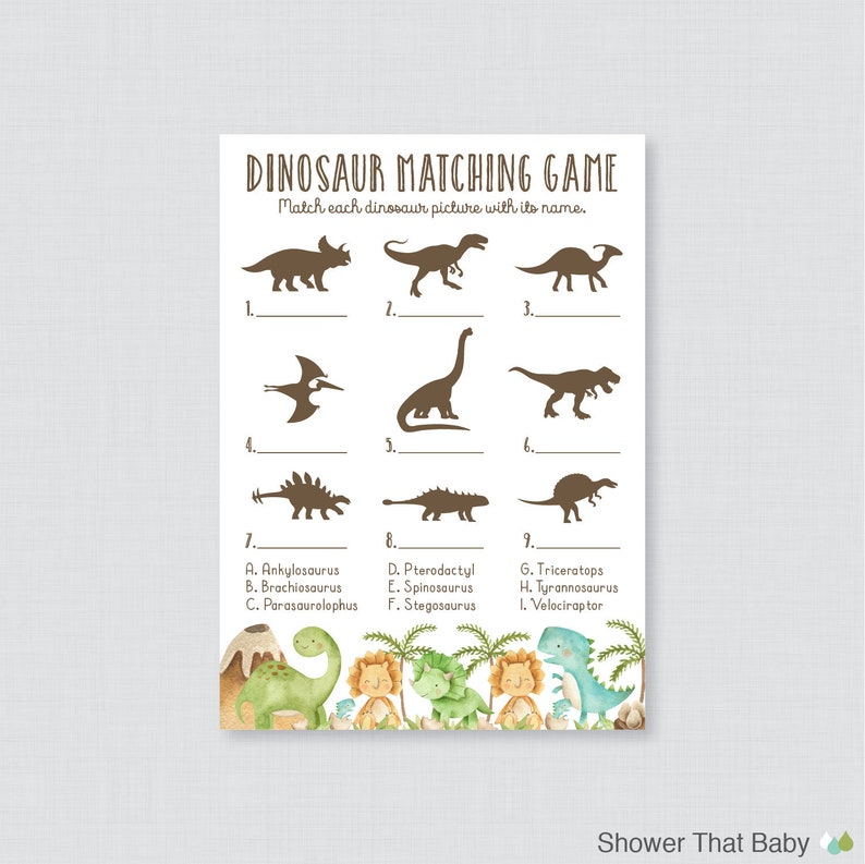 picture regarding Dinosaur Matching Game Printable named Dinosaur Matching Match - Printable Dinosaur Themed Child Shower Sport - Popularity the Dinosaurs Child Shower Quiz Matching Sport - Dino Topic - 0077