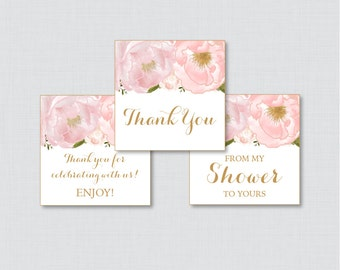 Floral Baby Shower Printable Favor Tag - Blush Pink and Gold Flower Baby Shower Thank You Tag, From My Shower to Yours Tags - 0044