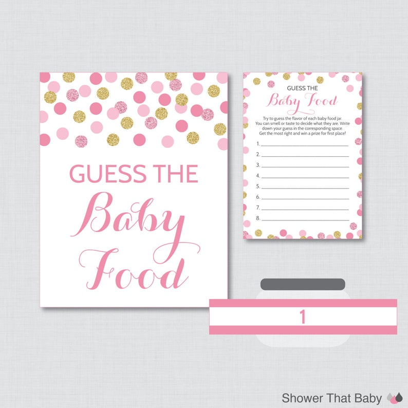 graphic regarding Baby Food Game Printable named Crimson and Gold Child Shower Kid Foodstuff Activity - Wager the Little one Food stuff Activity - Printable Instantaneous Down load - Crimson and Gold Glitter Dots - 0008-p