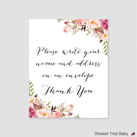 pink address an envelope sign printable download rustic