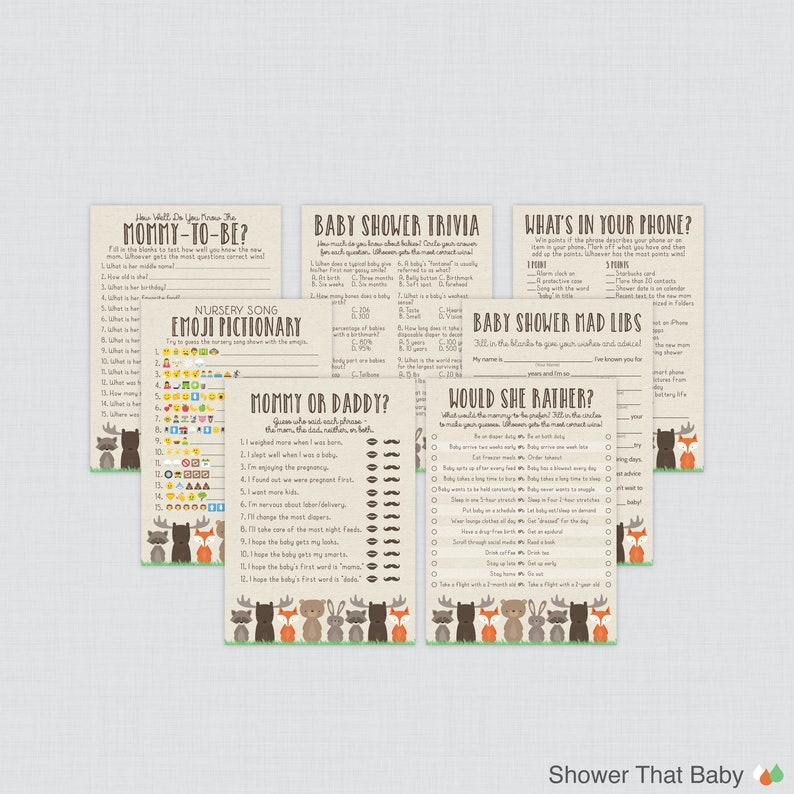 Woodland Baby Shower Games Package  Seven Printable Games: image 0