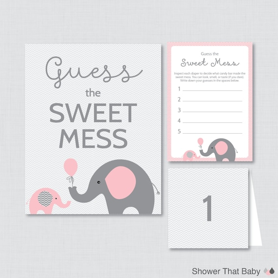 Elephant Baby Shower Diaper Candy Bar Game Printable Guess Etsy