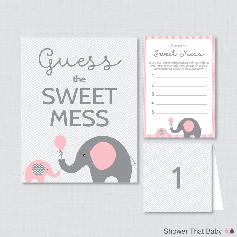 Elephant Baby Shower Diaper Candy Bar Game  Printable Guess image 0