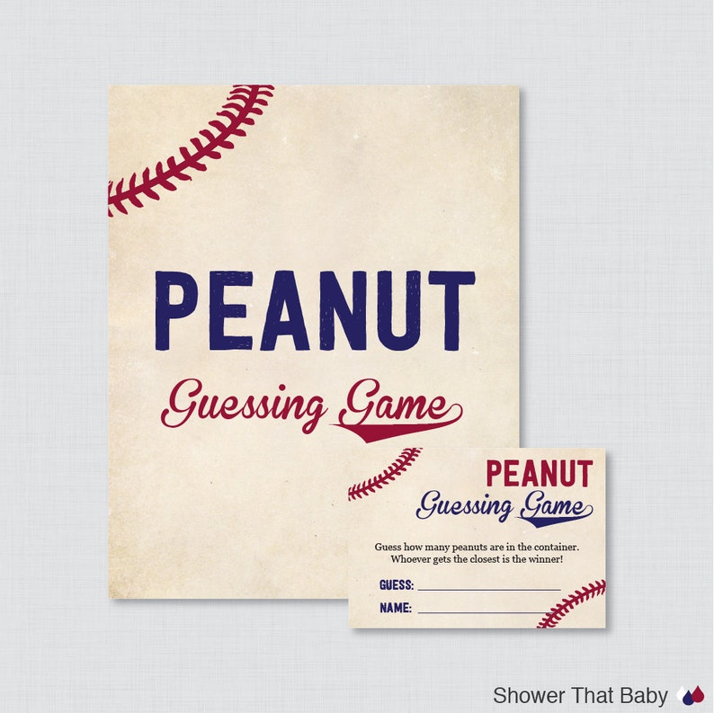 Baseball Baby Shower Peanut Guessing Game Printable  Guess image 0