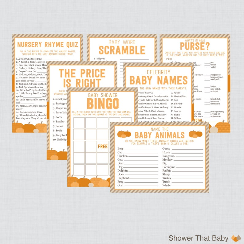 Pumpkin Baby Shower Games Package with Seven Printable Games  image 0