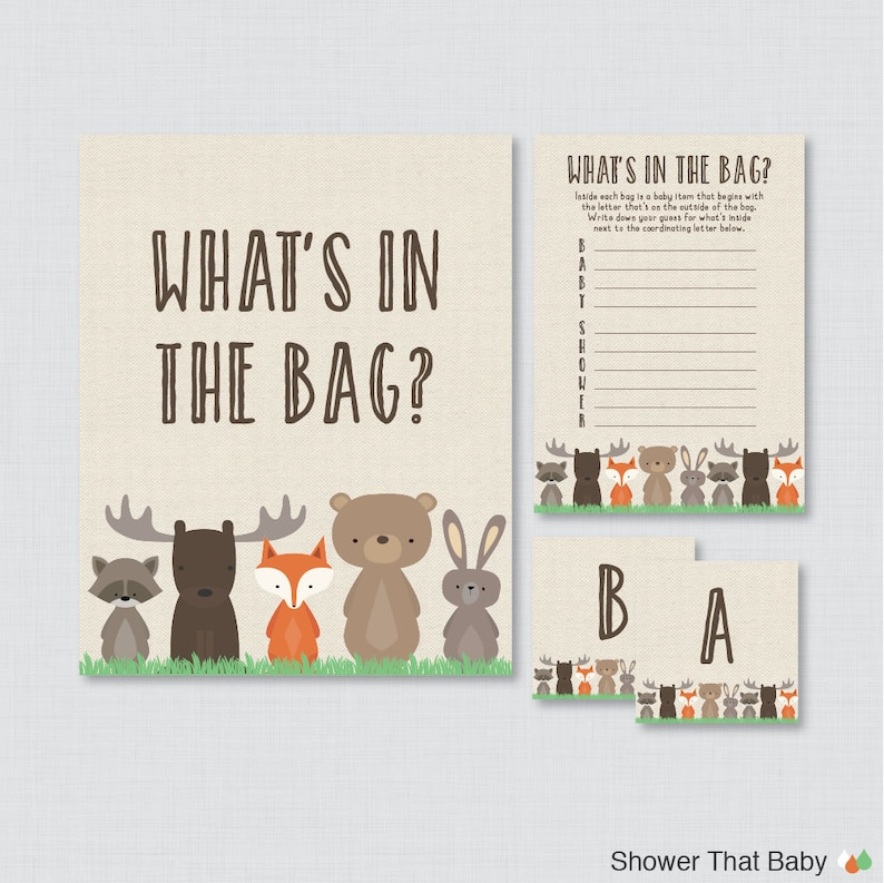 Woodland Baby Shower Bags Game Printable  Guess What's in image 0