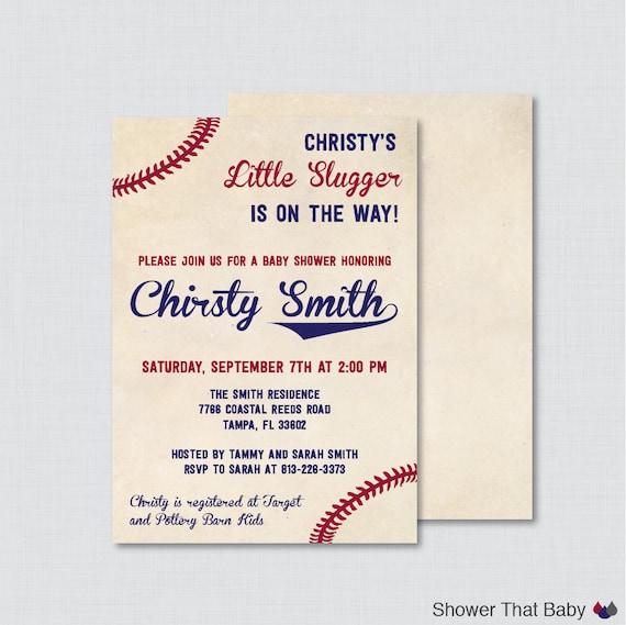 Baseball Baby Shower Invitation Printable Or Printed Vintage Etsy