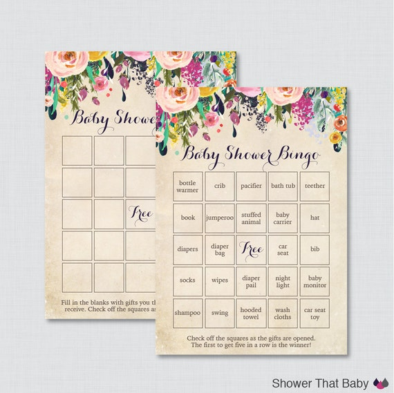 Floral Baby Shower Bingo Cards Printable Blank Bingo Cards Etsy
