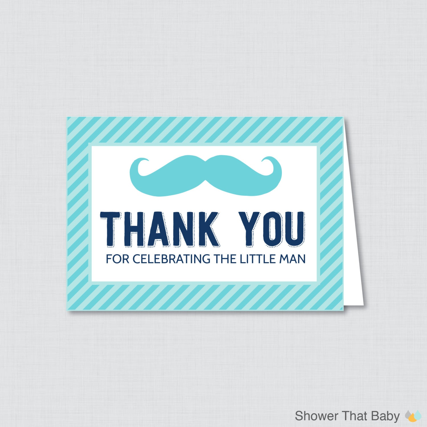 Printable Mustache Thank You Card Printable Instant Download Etsy