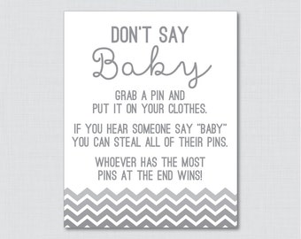 Don't Say Baby Baby Shower Game in Gray Ombre Chevron - Printable Diaper Pin Clothes Pin Game, Gray Chevron Baby Shower - 0017-G