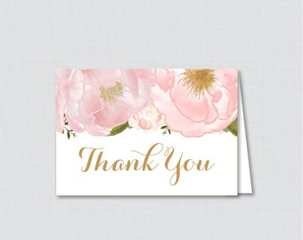 Printable Floral Thank You Card - Printable Instant Download - Pink and Gold Flower Baby Shower Thank You Card, Floral Thank You Card - 0044