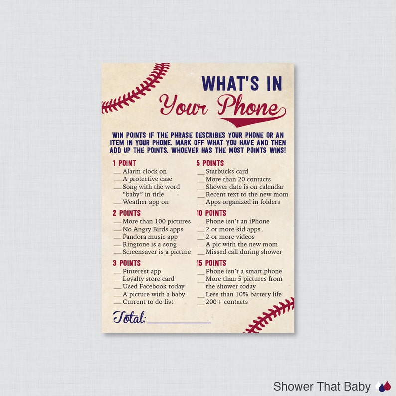 Baseball Baby Shower What's in Your Phone Game  Printable image 0