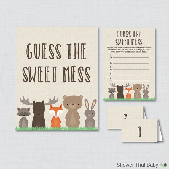 Woodland Baby Shower Diaper Candy Bar Game Printable Guess The Etsy