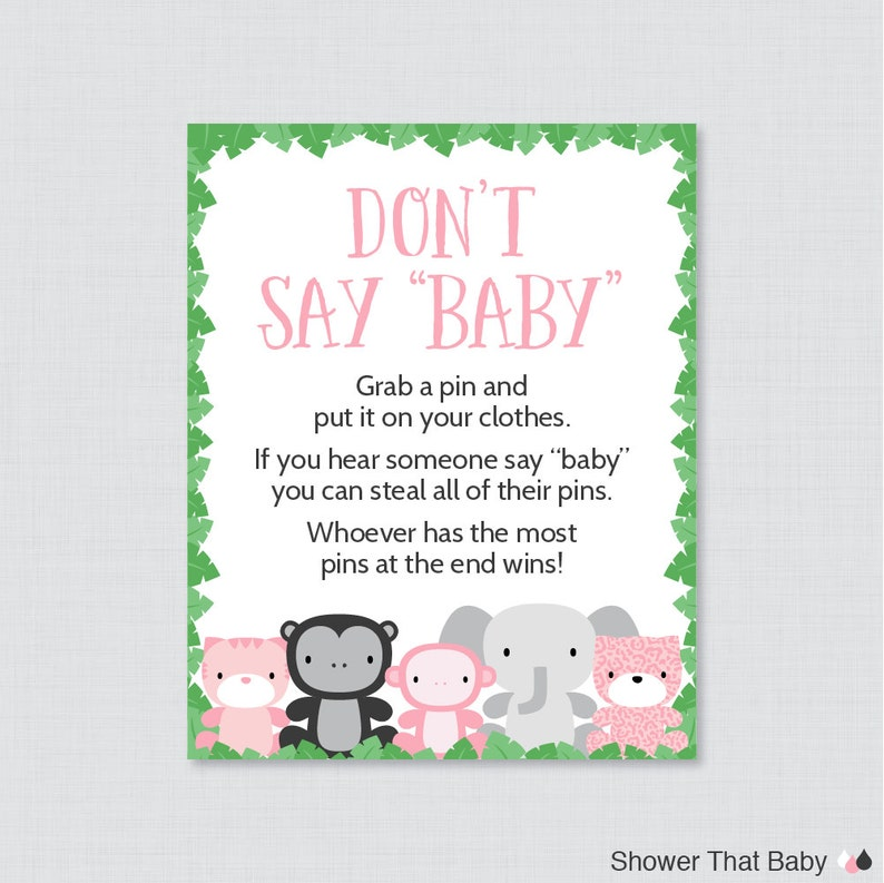 Jungle Theme Don T Say Baby Baby Shower Game Printable Etsy