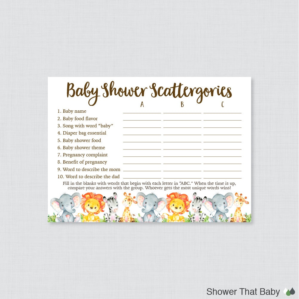 Safari Baby Shower Scattergories Game Printable Download