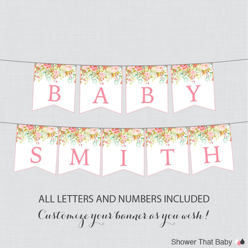 Printable Floral Baby Shower Banner Pink And Gold Flower Etsy