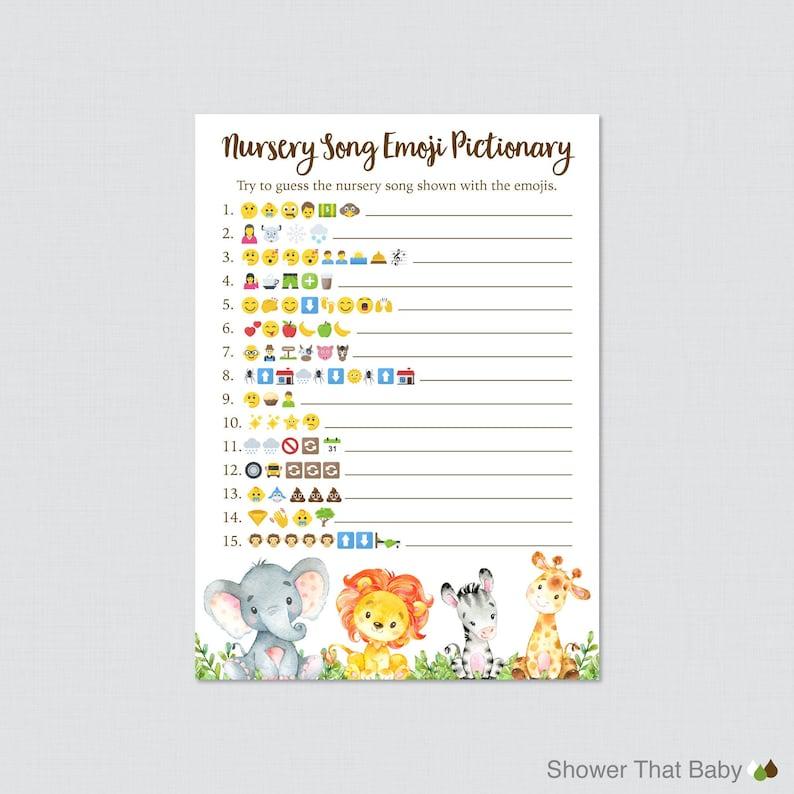 Safari Baby Shower Emoji Game Printable  Safari Animal image 0