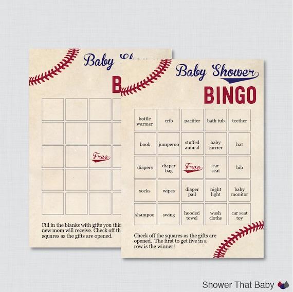 Baseball Baby Shower Bingo Cards Printable Blank Bingo Cards And Prefilled Bingo Cards Vintage Baseball Baby Shower Bingo 0027
