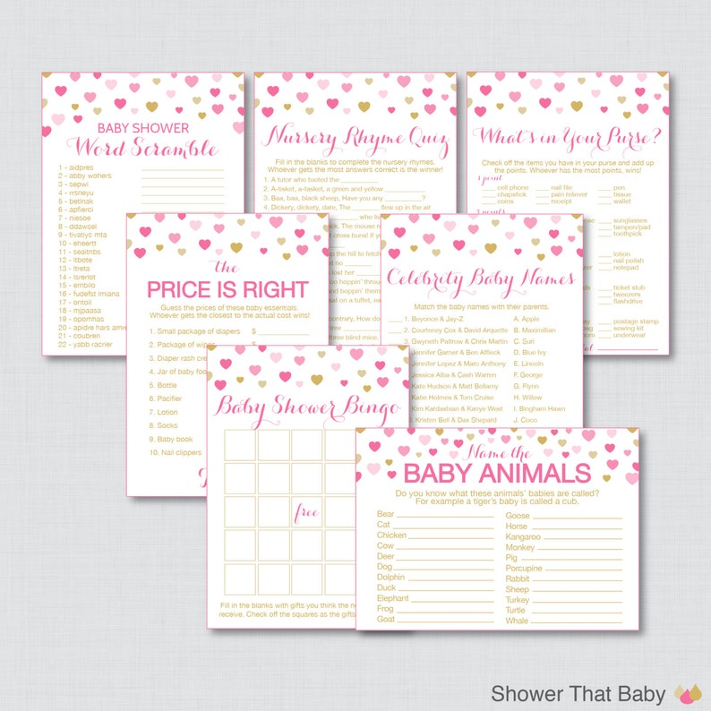 Hearts Baby Shower Games Package in Pink and Gold  Seven image 0