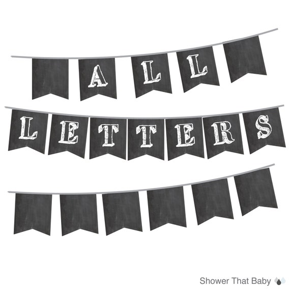 picture regarding Printable Chalkboard Letters known as Chalkboard Banner with ALL Letters and Figures - Printable Instantaneous Down load - Build Your Private Words for Youngster Shower, Get together, or Weddings