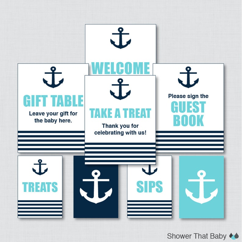 Printable Nautical Baby Shower Table Signs  EIGHT Signs  image 0