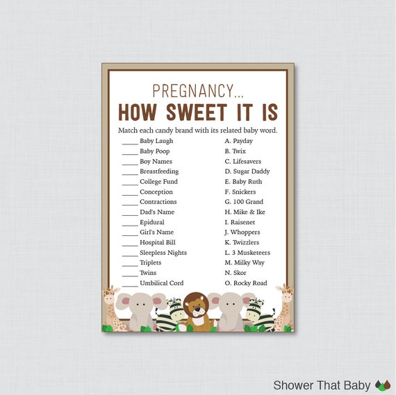 Sweet Sweet Baby Baby Shower Game: Safari Baby Shower Pregnancy How Sweet It Is Game