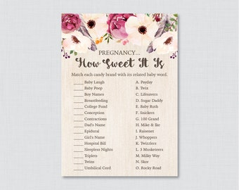 Boho Baby Shower Pregnancy How Sweet It Is Game - Printable Instant Download - Bohemian Flowers and Feathers Shower Candy Game -0043