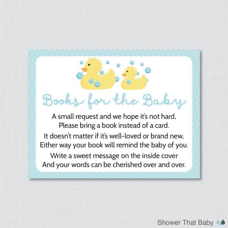 photograph regarding Rubber Ducky Printable titled Rubber Ducky Youngster Shower Printable Carry a E book In its place of a Card Invitation Inserts inside of Blue - Duck Inventory Babys Library Card - 0019-B