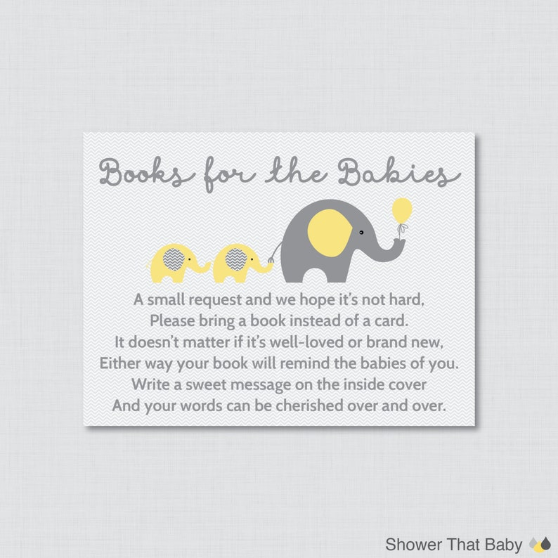 Elephant Twins Baby Shower Bring a Book Instead of a Card image 0