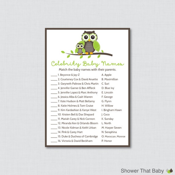 Celebrity Baby Shower Game Printable Owl Themed