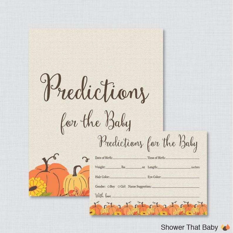 Pumpkin Baby Shower Prediction Cards  Instant Download  image 0