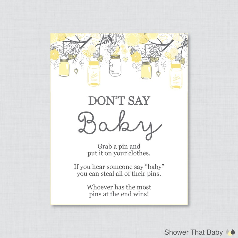 photo about Don T Say Baby Game Printable known as Dont Say Youngster Kid Shower Video game Printable Dont Say Little one Indicator Diaper Pin Outfits Pin Activity - Yellow and Grey - Prompt Down load - 0064-Y