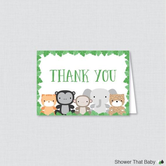 Printable Jungle Theme Thank You Card Printable Instant Etsy
