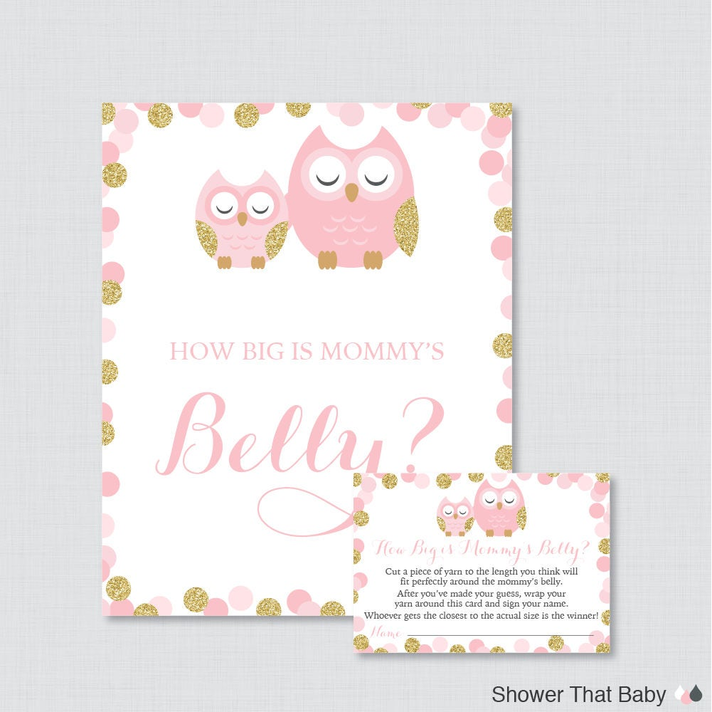 Pink And Gold Owl Baby Shower How Big Is Mommys Belly Etsy
