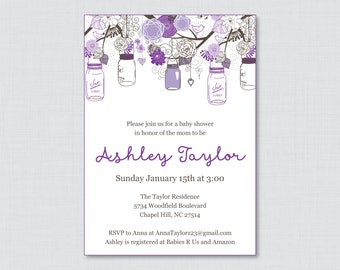 Mason Jar Baby Shower Invitation Printable or Printed Invite - Purple Baby Shower Mason Jar Invitations - Purple Baby Shower Invite 0064-R