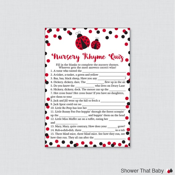 Ladybug Nursery Rhyme Quiz Baby Shower Game Printable Etsy