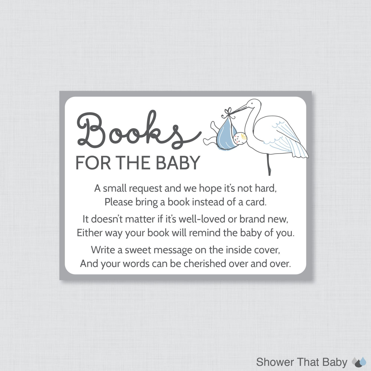 Stork Baby Shower Bring A Book Instead Of Card Invitation Inserts