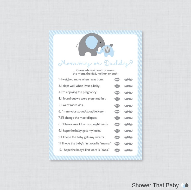Bekend Elephant Mommy or Daddy Baby Shower Quiz Baby Shower He Said   Etsy #IQ88