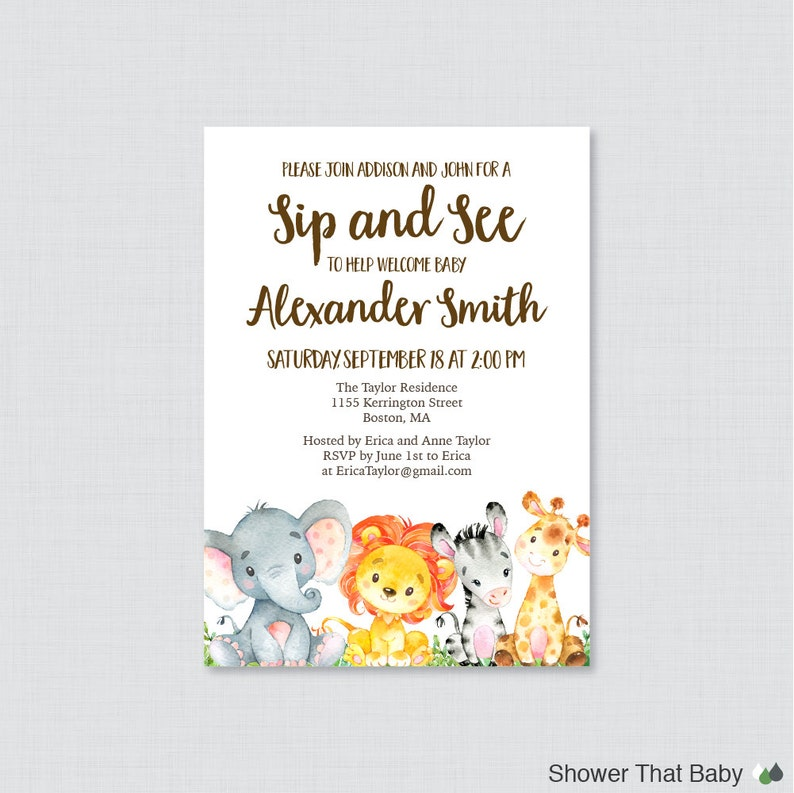 Safari Sip And See Invitation Printable Or Printed