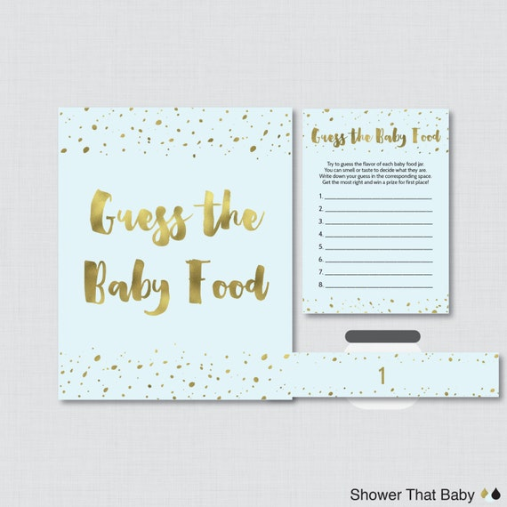Blue And Gold Baby Shower Game Guess The Baby Food Activity