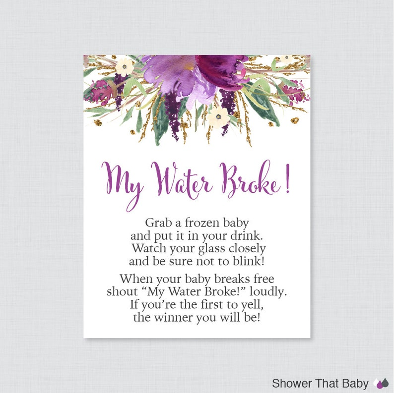 Purple Floral Baby Shower My Water Broke Game Sign  Printable image 0