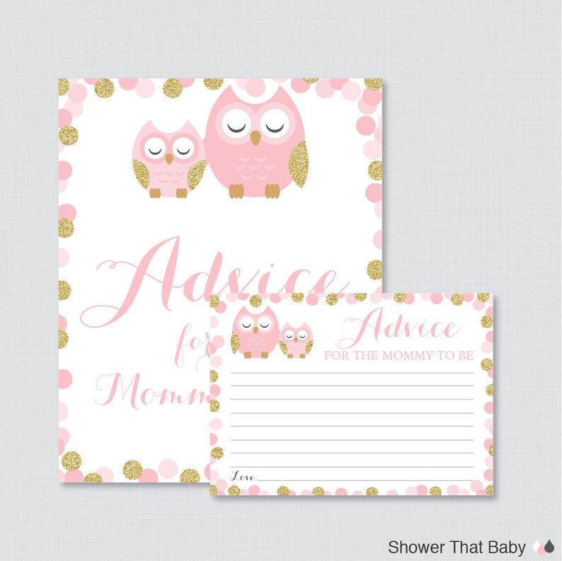 Pink Woodland Owl Printable Baby Shower Mommy Advice Cards