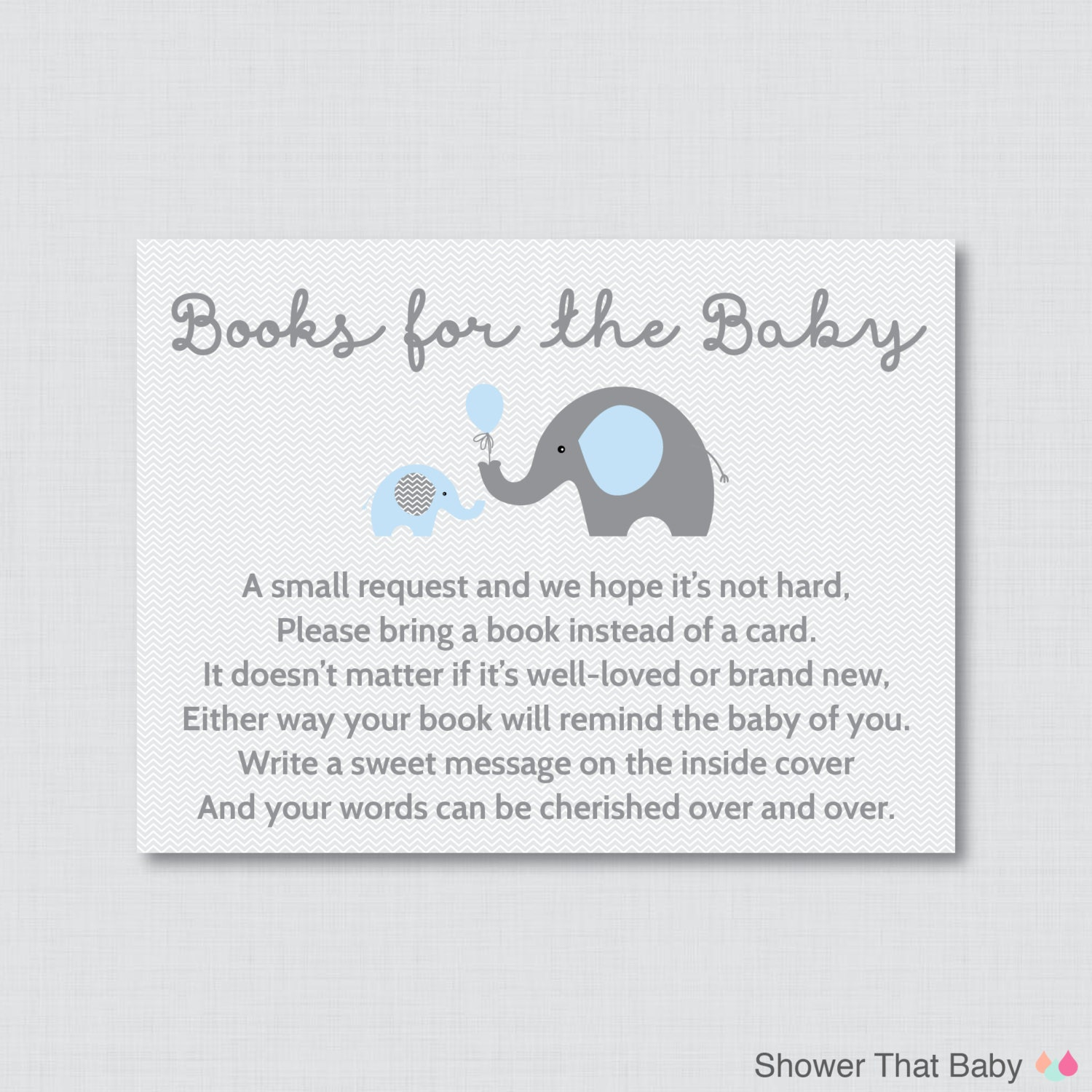 Elephant Baby Shower Bring A Book Instead Of A Card Invitation Etsy