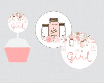 Mason Jar Baby Shower Cupcake Toppers and Cupcake Wrappers Printable Set It's a Girl Pink and Brown - Instant Printable Download - 0064-P