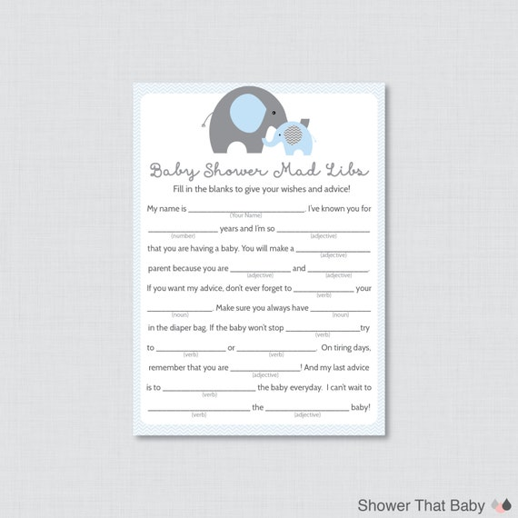 photo relating to Madlibs Printable known as Elephant Youngster Shower Nuts Libs Printable - Youngster Shower Tips Playing cards MadLibs Blue and Grey Elephant - Fast Down load - Elephant 0024-B