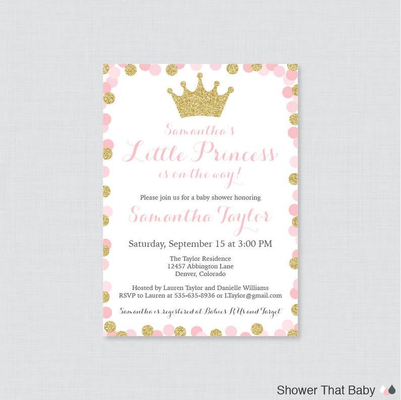 Princess Baby Shower Invitation Printable Or Printed Pink Etsy