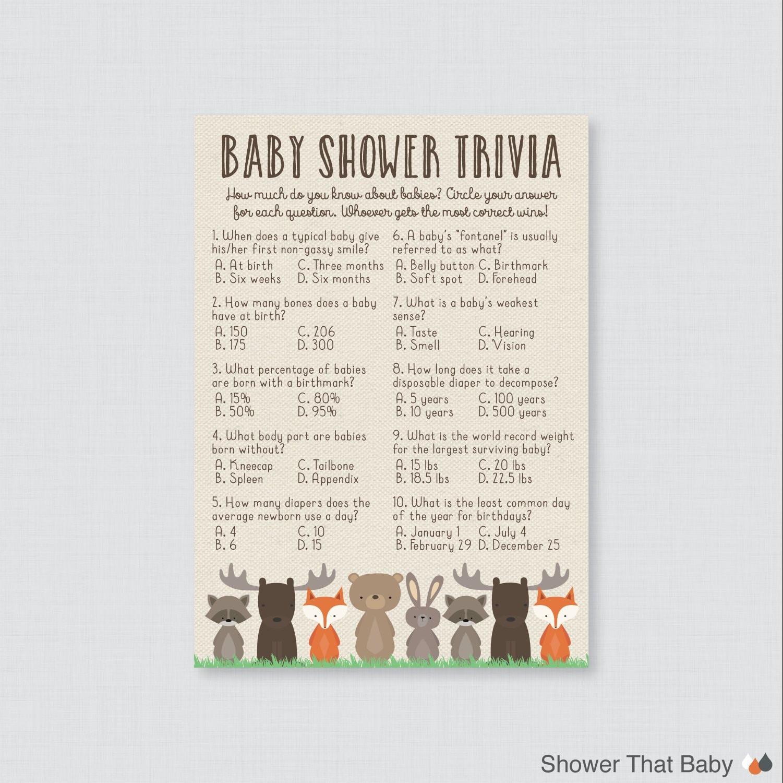 Woodland Baby Shower Trivia Game Printable - Woodland Themed Baby Trivia  Quiz - Instant Download Fox Bear Moose Rabbit Raccoon 0010