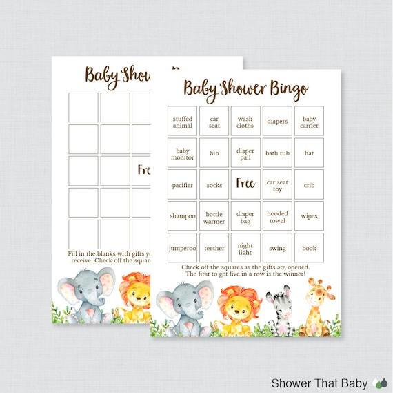 Safari Baby Shower Bingo Cards Printable Blank Bingo Cards And Prefilled Bingo Cards Safari Animals Baby Shower Bingo Gender Neutral 0060