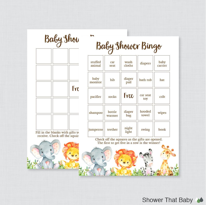 Safari Baby Shower Bingo Cards Printable Blank Bingo Cards Etsy